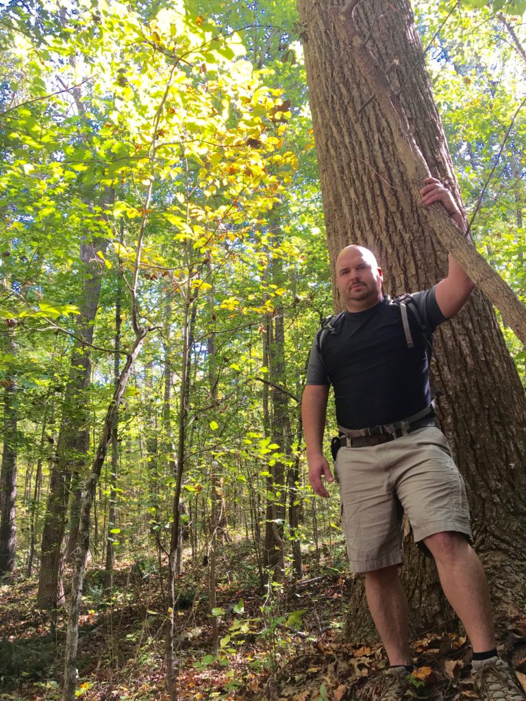 Damien Fernandez, hiking this past weekend at Horton Grove Nature Preserve