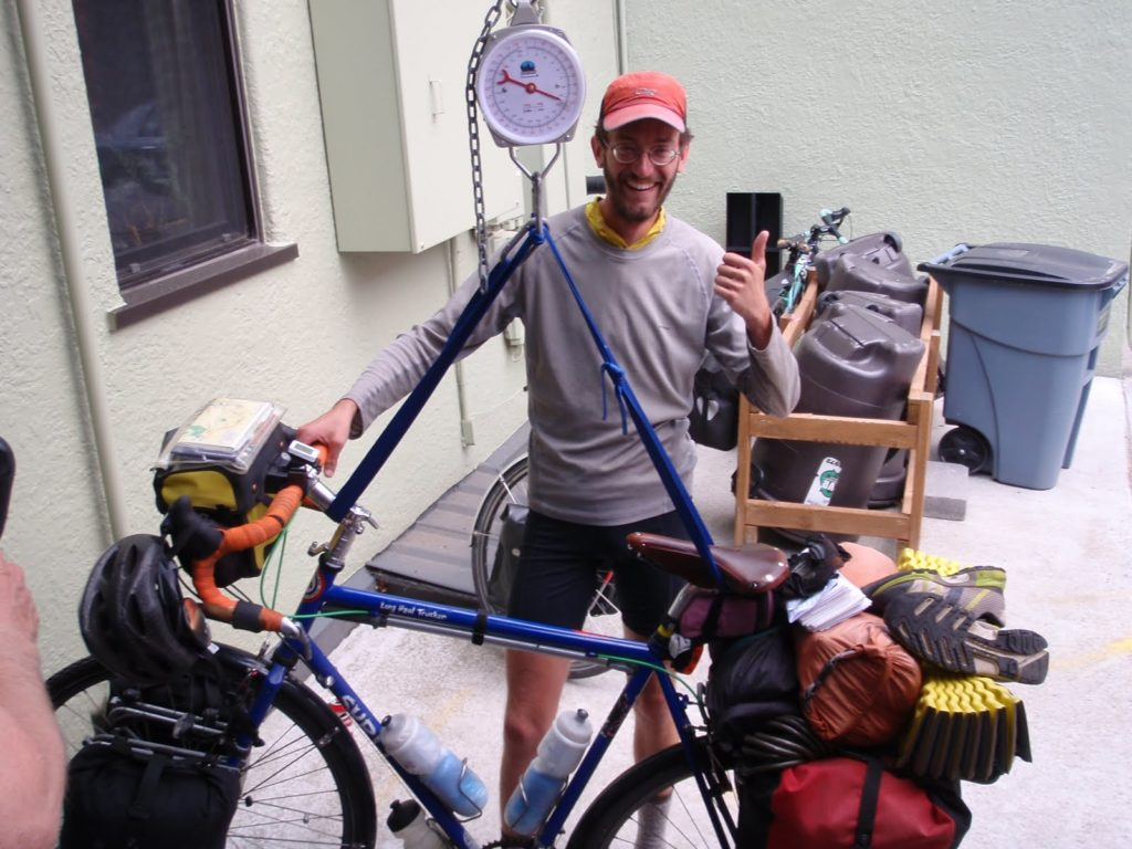 Tom - Weighing in at Adventure Cycling Association HQ Missoula MT 2012
