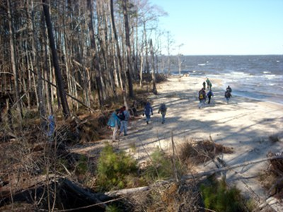 Hiking the shoreline of the Neuse, on the Neusiok Trail