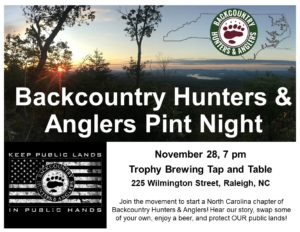 BackCountry Hunters & Anglers | Raleigh @ Trophy Brewing Tap & Table | Raleigh | North Carolina | United States