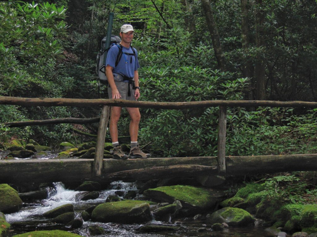 Travis field testing a new (at the time) Osprey Atmos 50 on a Backpacking/Fly Fishing double-header in the Smokies.